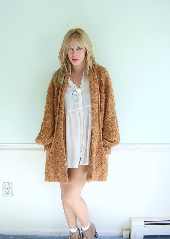 Caramel Collared Vintage Early 90s Slouchy Shawl Scooped Oversized Cardigan Sweater OS