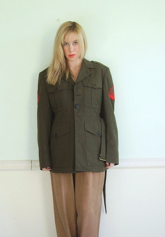 First Regiment Vintage Army Green Military Jacket with Shoulder Patches XS/S Mens