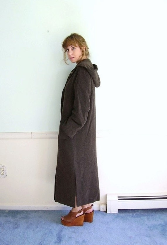 Forbidden Forest 80s Hooded Woven Tweed Button Front Long Overcoat MEDIUM Petite