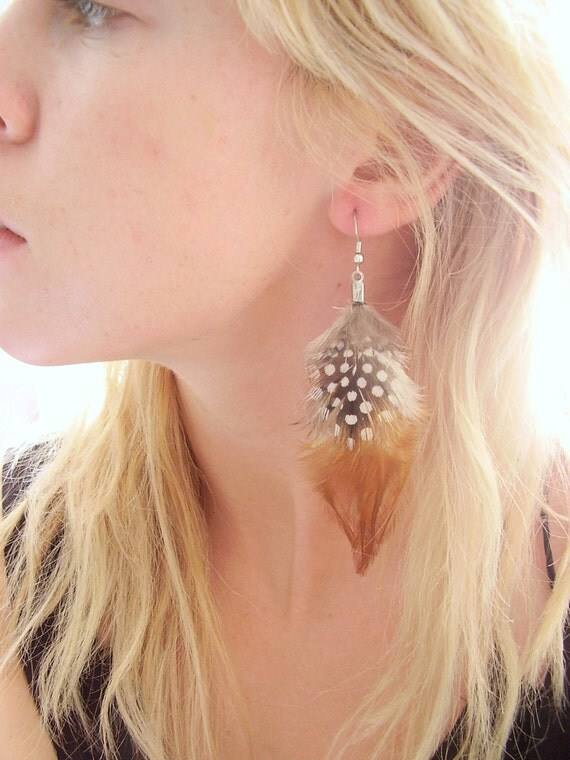 Single Brown Spotted Feather Earring 4 inches
