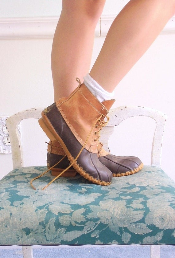 Vintage Lace Up Duck Boots 5 7 Ankle Boots Waterproof