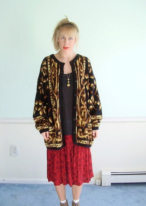 Midas in Leaf Vintage 80s LS Black and Gold Patterned Cardigan Sweater LARGE L