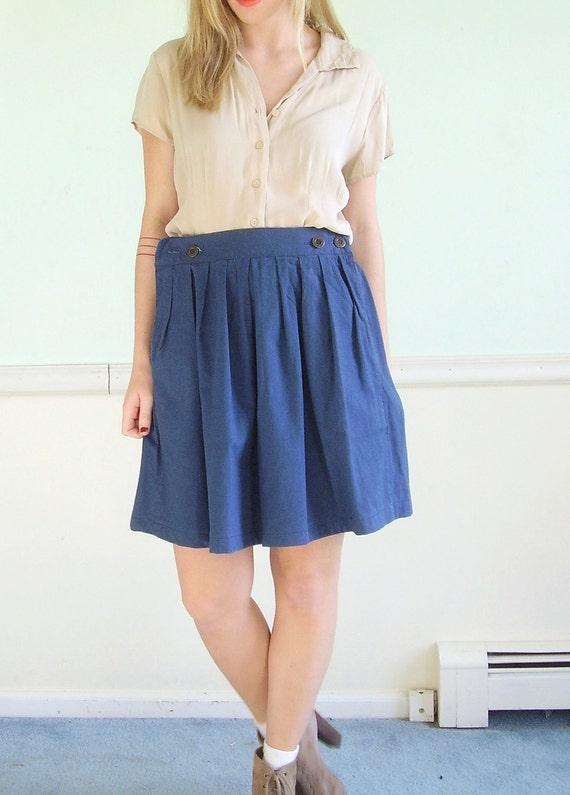 Courtyard Skip Vintage 80s Navy Blue Pleat Front High Waist Mini Skirt M/L