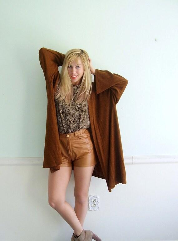 Slouchy Cardigan Sweater Jacket Vintage 70s Brown Marled Boho Layering Element OSFM