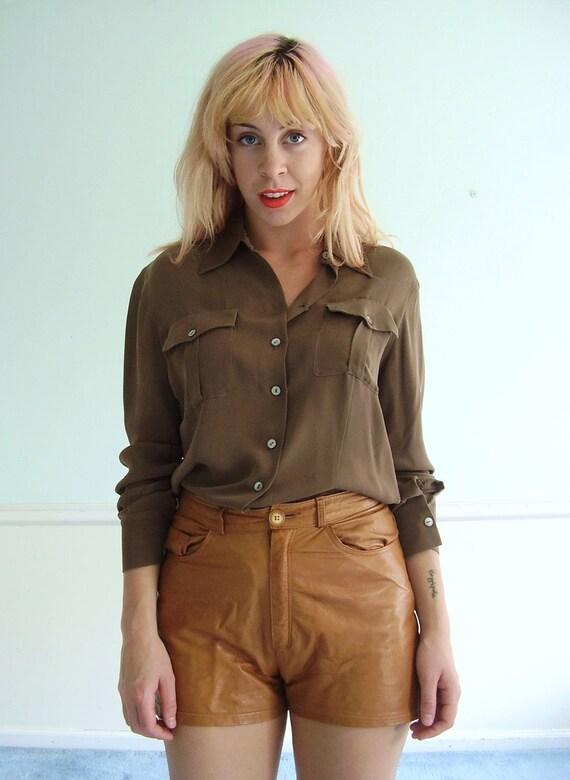 Slouchy Silk Shirt - LS - Vintage 90s - Brown - SMALL MEDIUM S M