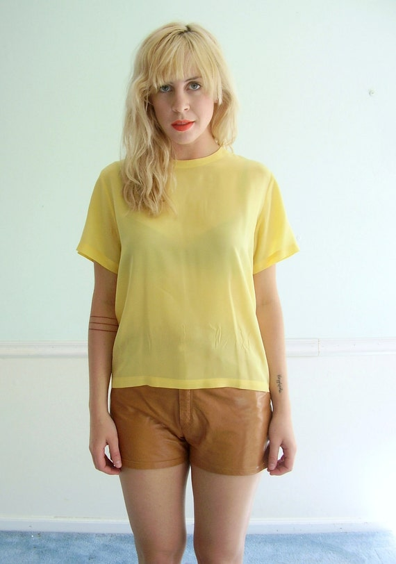 Butter Yellow Silk Vintage 80s Short Sleeve Blouse Shirt SMALL MEDIUM S M