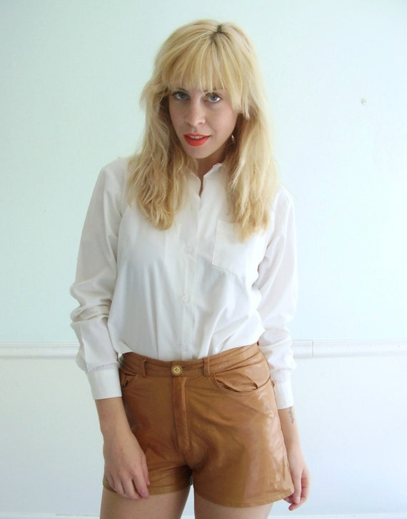 Tuxedo White Button Down Shirt Vintage 70s 80s SMALL Womens Pocket Blouse