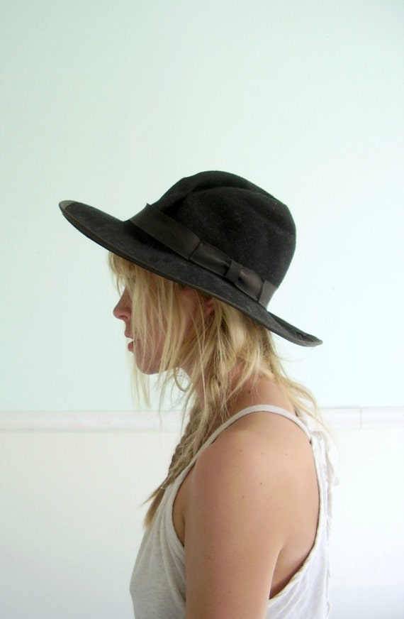 Felted Black Gaucho Hat Vintage 80s Bohemian Summer Hat