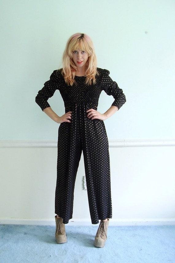 Black and Gold Jumpsuit - Vintage 90s - Lurex Floral Print - Wide Leg - XS S Petite Short