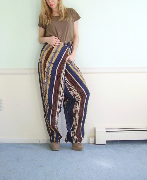 Tribal Striped Vintage 80s Slouchy Tapered Leg Hareem Pants Plus Size 3XL