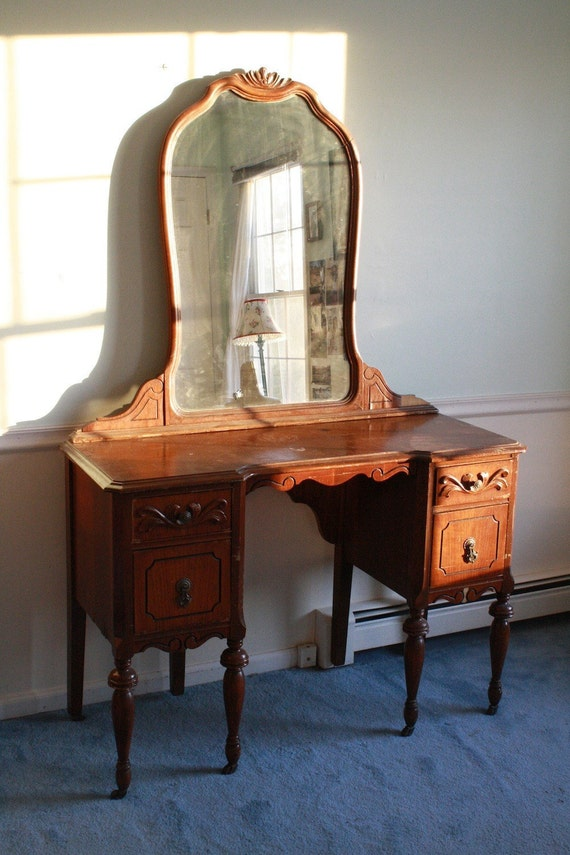 Antique 1940s Wooden Mahogany Mirrored Vanity Desk Table With