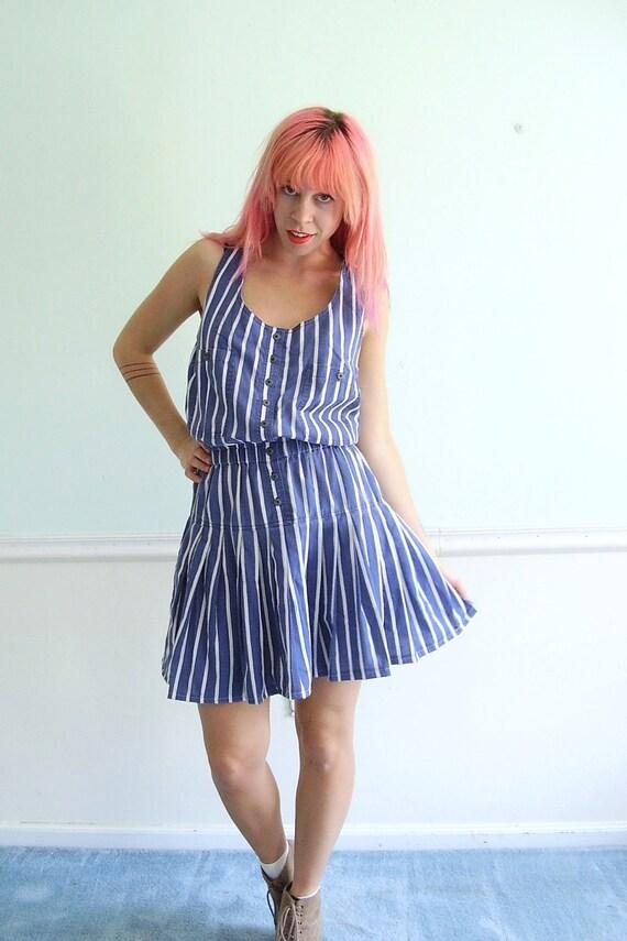 Conductor Stripe Vintage 80s Criss Cross Back Mini Dress M L Petite Sleeveless Summer