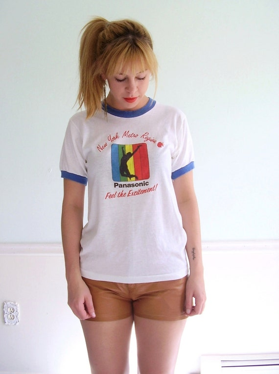 Panasonic Classic Vintage Early 80s SS White Ringer Graphic Tee Shirt Small
