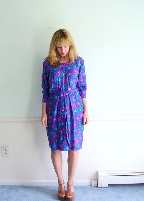Neon Floral Vintage 80s Silk Printed Tulip Skirted Secretary Dress MEDIUM