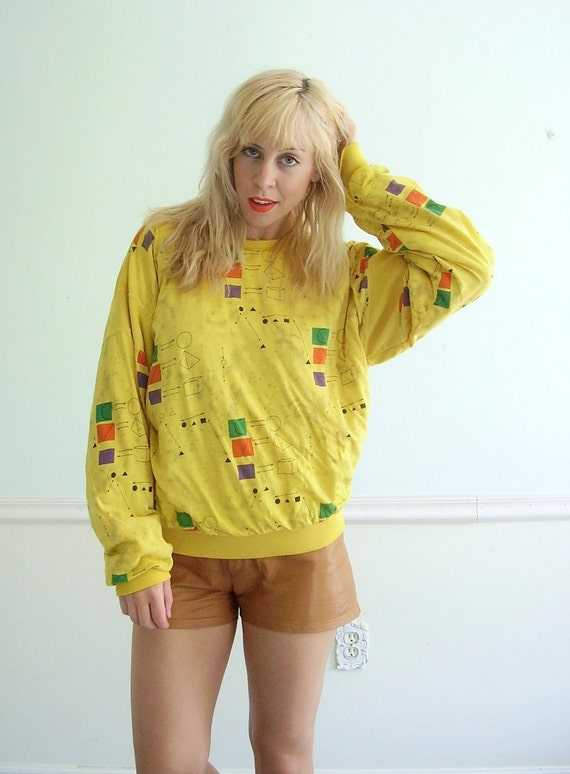 Math Nerd Vintage 80s Bright Yellow Geeky Geometry Sweatshirt Pullover XS MEDIUM
