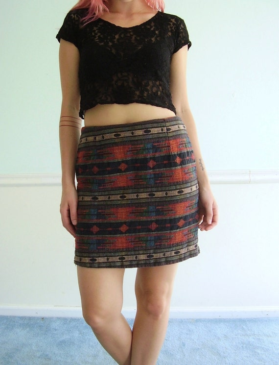 Southwestern Woven Tribal Vintage 90s Mini Skirt - MEDIUM M