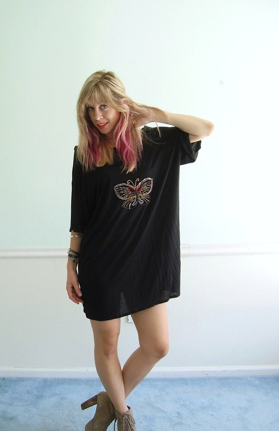 Bedazzled Butterfly Sheer Mini Dress Tunic OSFM  - Vintage 80s 90s