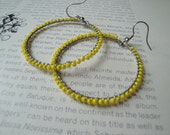Wire Wrapped Hoops- Yellow