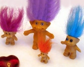 CHRISTMAS IN JULY VINTAGE 60'S SET OF 4 TROLL DOLLS - ALL DIFFERENT LOOKING ALL DIFFERNT SIZES