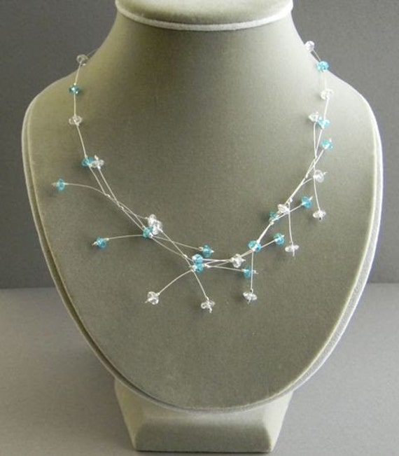 Blue N Clear Floating Illusion Necklace- By RosesDesigns