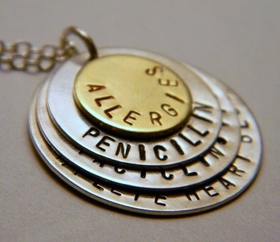 Medic Alert Necklace: Medical Alert Customized Necklace 4 Layered Disks By