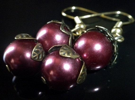 Purple Plum Pearl Earrings- By RosesDesigns