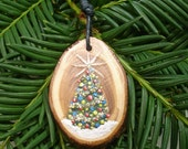 Handpainted Christmas Tree on Yew Slice Necklace  OOAK - No Shipping Charge within the U.S.