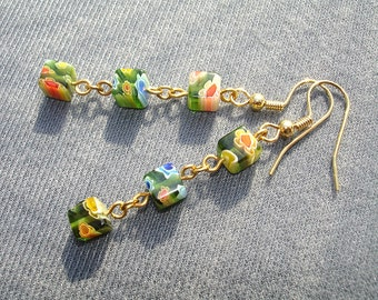 Green Garden Triplets Earrings - No Shipping Charge within the U.S.
