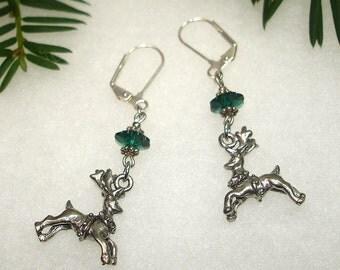 Flying Reindeer Christmas Earrings III OOAK - No Shipping Charge within the U.S.