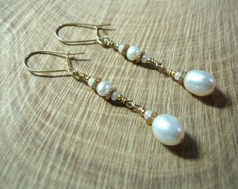 Bridal White Pearl Earrings - No Shipping Charge within the U.S.