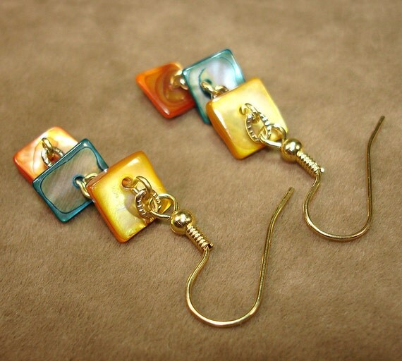Endless Summer Dyed Shell Earrings (Yellow, Blue, & Orange) - OOAK - No Shipping Charge within the U.S.