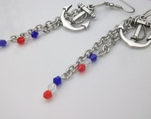 SALE 30 percent  off Anchor charmed Long Chain Earrings / Forth of July Earrings / Patriotic. Red White and Blue