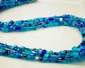 Hand Beaded Blue Crystal / Seed beaded necklace. - Ships free to US