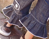 Ingrid B. Design signature denim ruffle bottom with tab button gauchos READY TO SHIP sz 12mo and 6