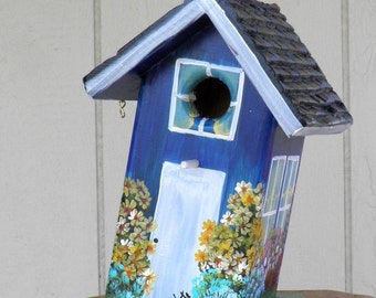 Navy Blue Birdhouse Hand Painted with Flowers and at a Slant