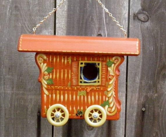 Gypsy Bird House Wagon, Burnt Orange with Gold and Cream Scroll