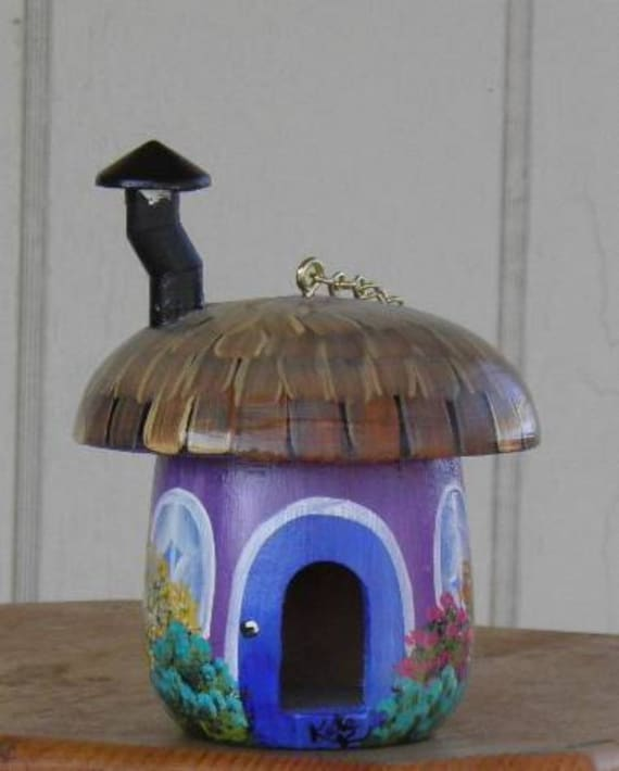 Hand Painted Purple Mushroom Birdhouse with a Chimney
