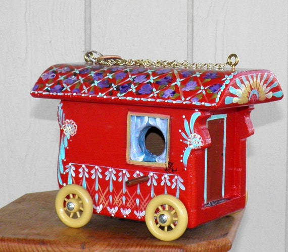 Red Gypsy Caravan Bird house Wagon, with lots of Color and Creative Design, Hand Painted and Handcrafted