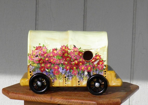 Covered Wagon Bird House, Handcrafted and Hand Painted Golden and with a lot of Flowers