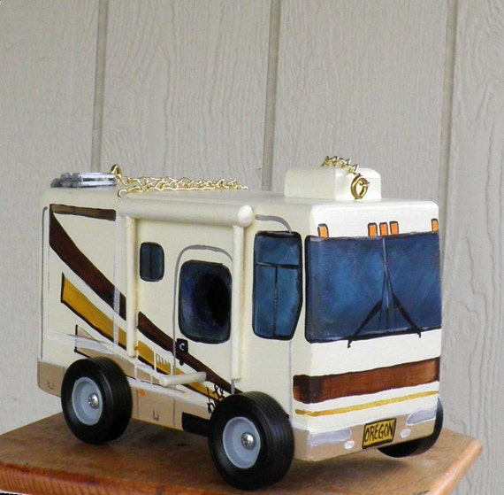 Motor Home Bird House with Ladder,For Sale 2012 Model, Hand Painted, Handmade, Made in the USA