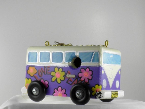 Purple Flower Power VW Birdhouse