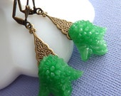 Earrings the Greening of the Earth, Celebrated in Vintage Glass
