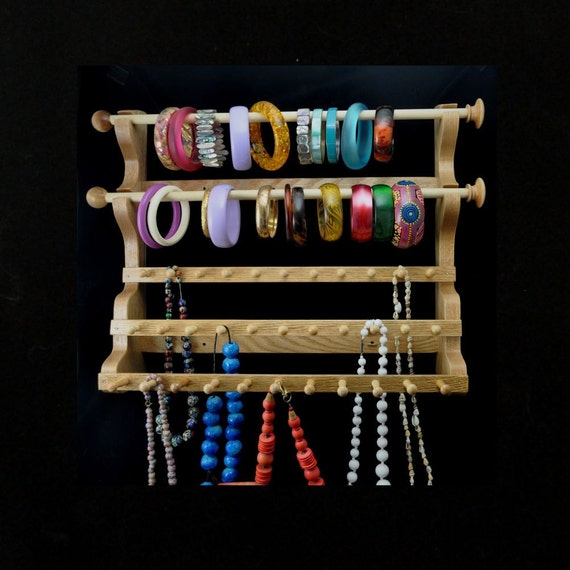 Hanging Bracelet and Necklace Holder Storage Organizer Display Oak