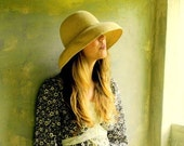 Sun Hat Straw Hat Gold Metallic Accent Thread Vintage Floppy Hat