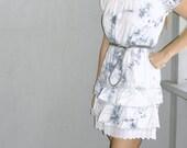 vintage denim tiedye ruffle lace dress (m, l)