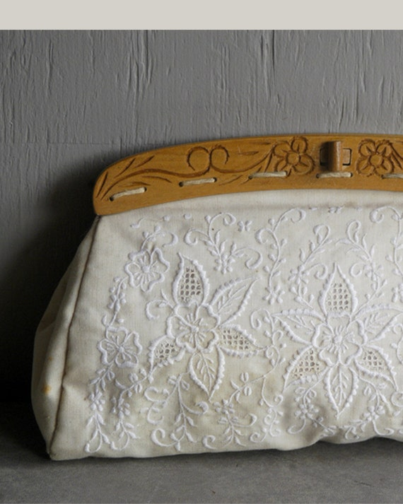 Vintage embroidered eyelet clutch with hand by