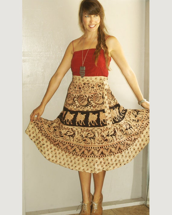 vintage boho tribal festival wrap skirt