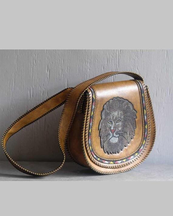 vintage 70s tribal LION vegan tooled leather purse festival tote