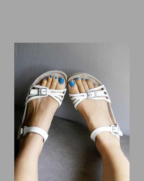 white leather Birkenstock sandals size 38