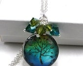 Glass Tile Dome Swarovski Crystal Cluster Pendant - Tree of Life in Blue and Green - anjalicreations